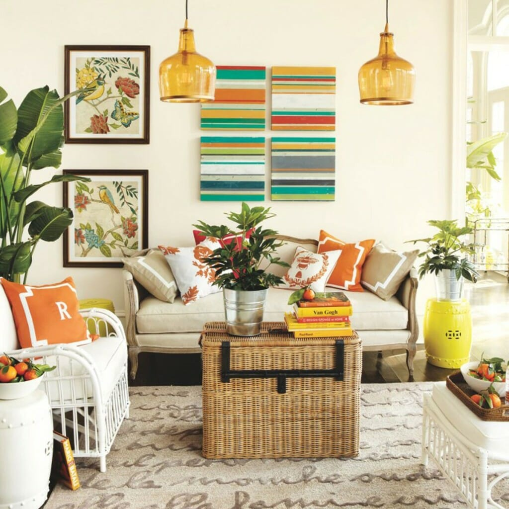 5 ways to infuse your decor with summer decorilla for Colorful living room sets
