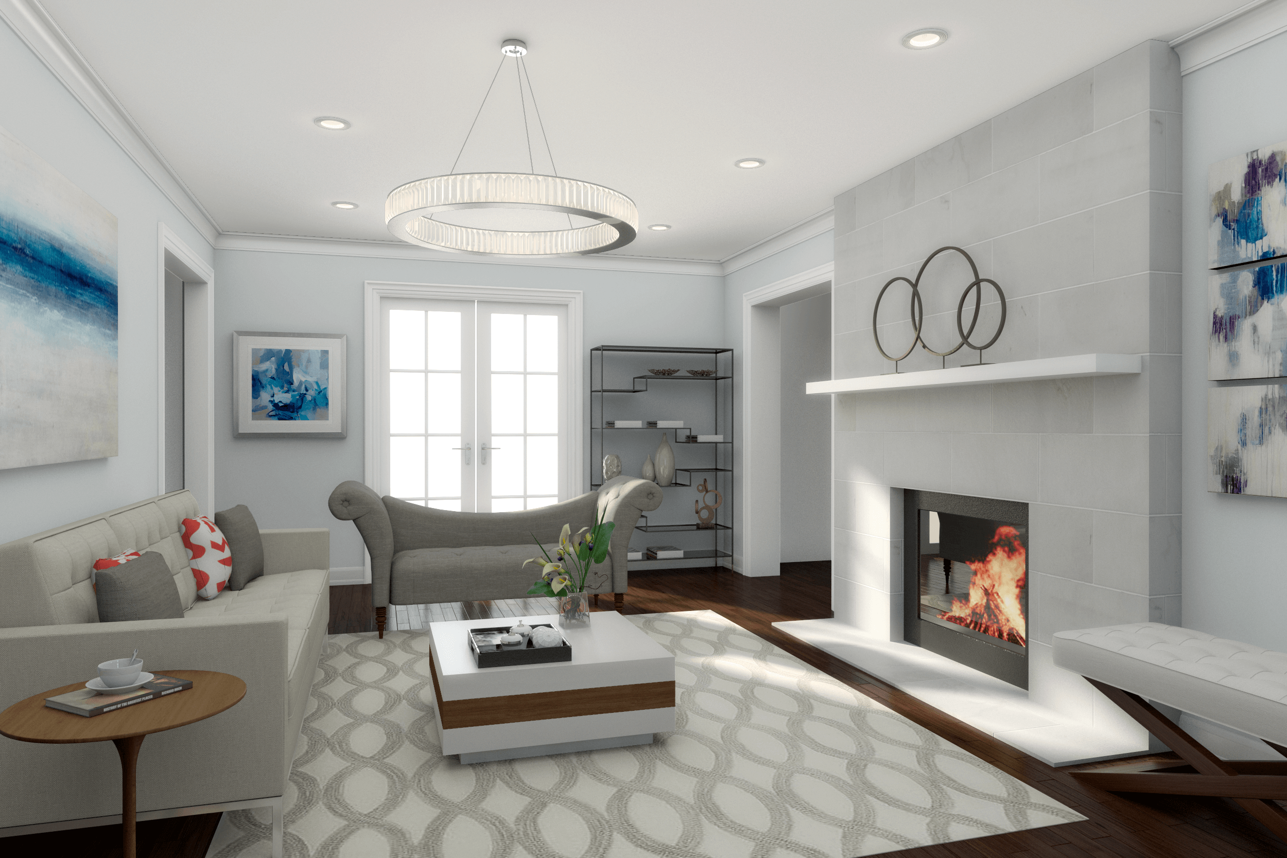How to get a high end contemporary living room design on a for Online drawing room