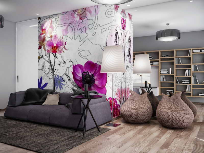 Contemporary-Floral-Wallpaper-Designs-With-Wood-Floors
