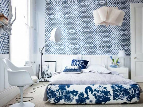 Mixing matching your guide to fab combinations for Blue and white bedroom wallpaper