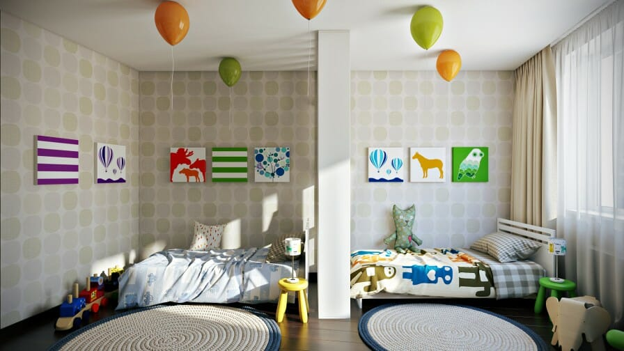 Captivating Shared Kids Room Dividers
