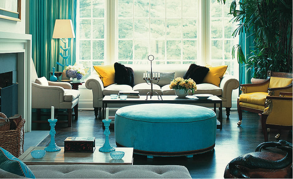 NYC blue living room design