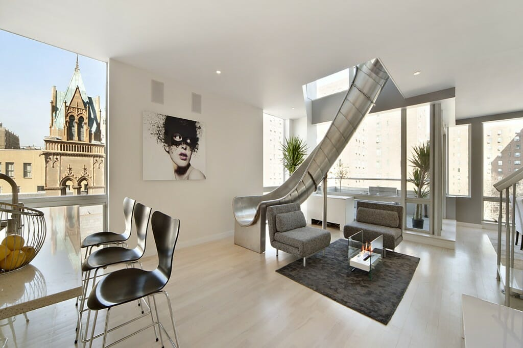 living room nyc interior designer with slide