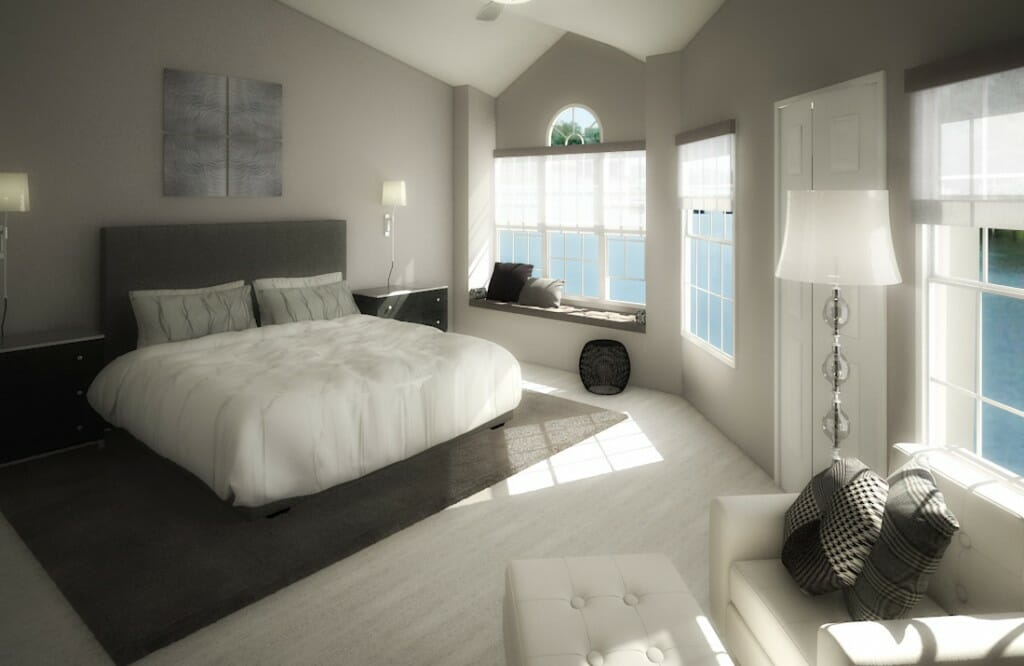 Monochromatic bedroom design