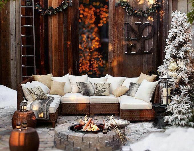 winter interior design trends firepit