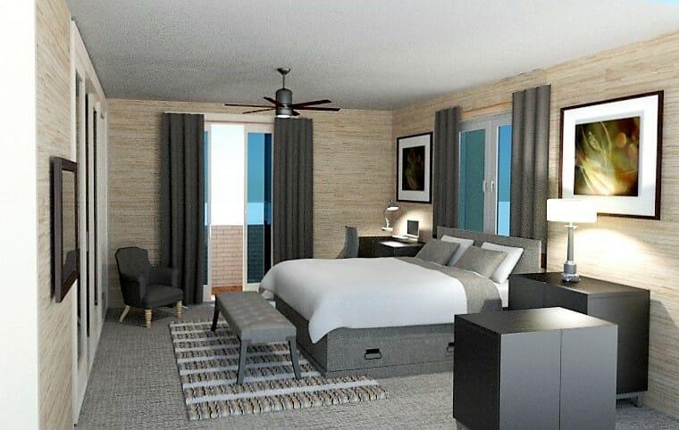 interior designer Sharon Copeland bedroom