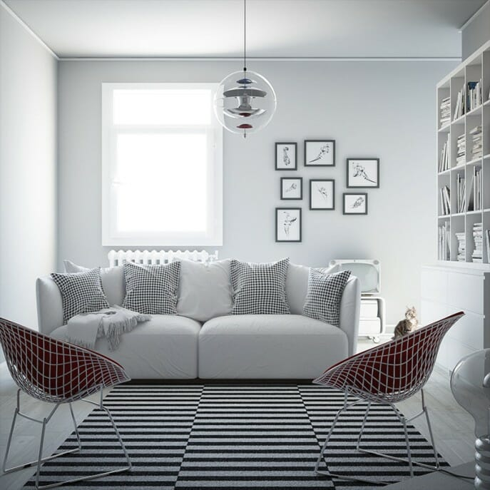 scandinavian interior design white living room
