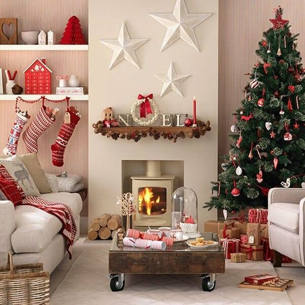 top christmas holiday decorating ideas living room - Interior Christmas Decorating Ideas