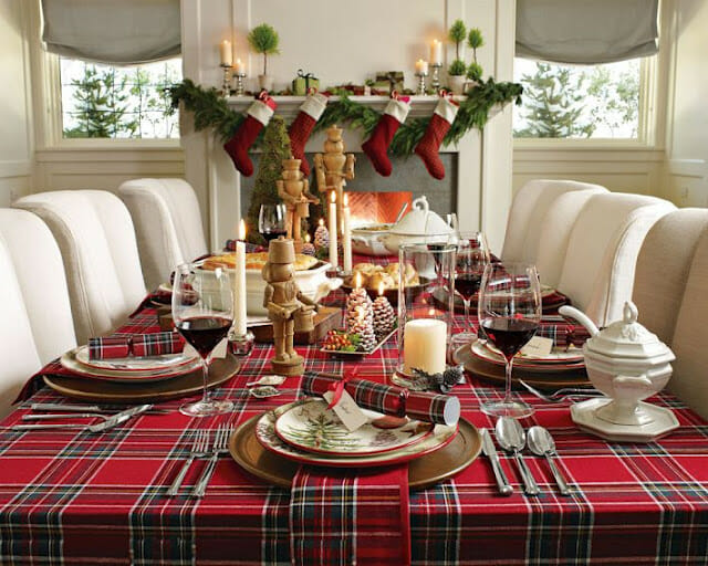 top Christmas holiday decorations table setting