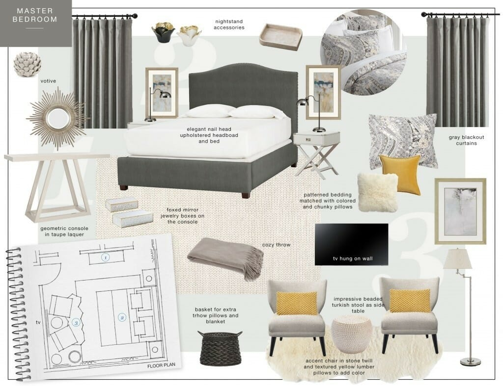 Moodboard for bedroom online interior design services