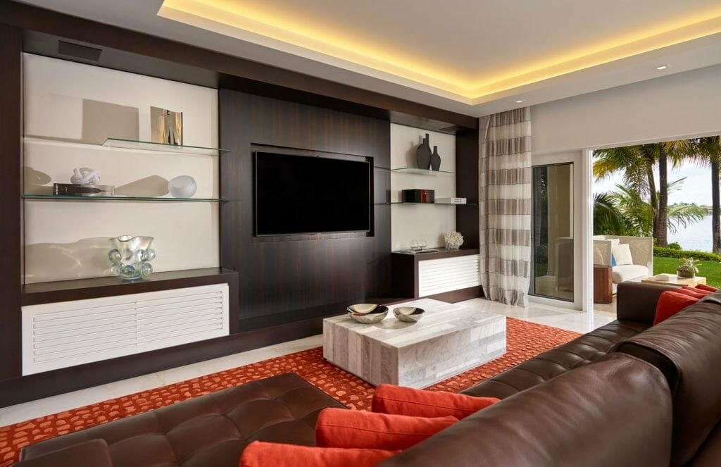 Contemporary waterfront living room by one of the top miami interior designers Pepe Calderin