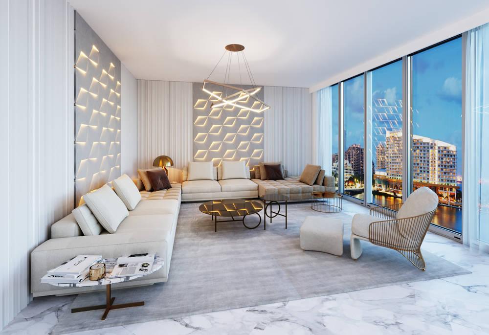 Modern luxury condo livingroom by top Miami interior designer Natalia Neverko