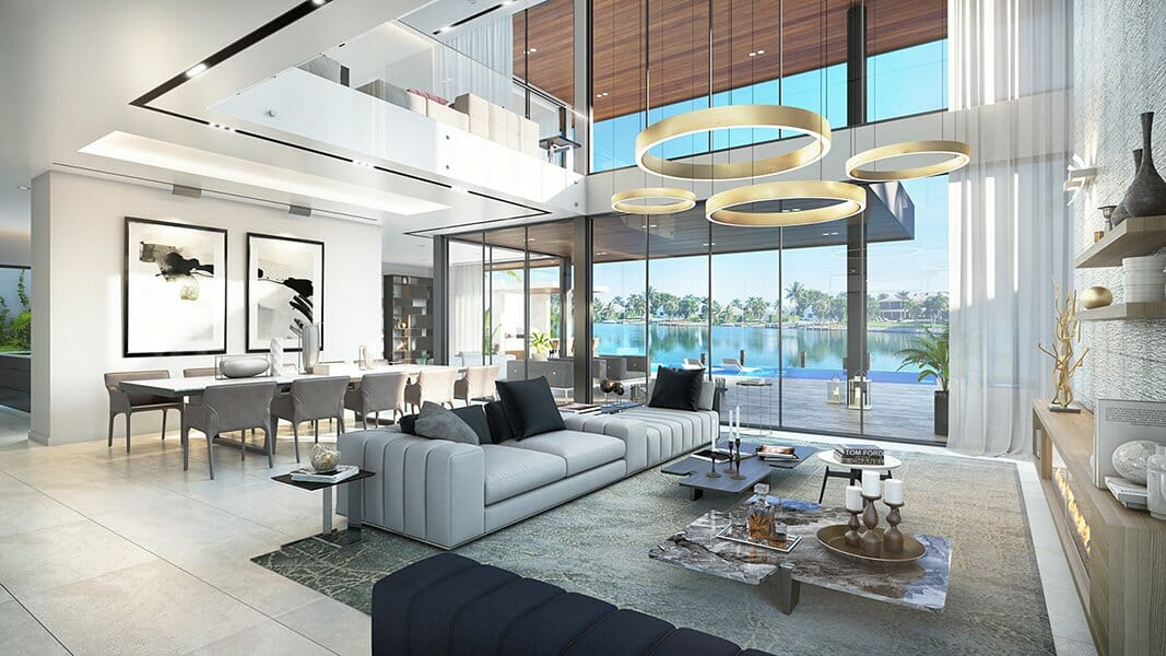 Modern luxury open living room by one of the top interior design firms miami SDH studio