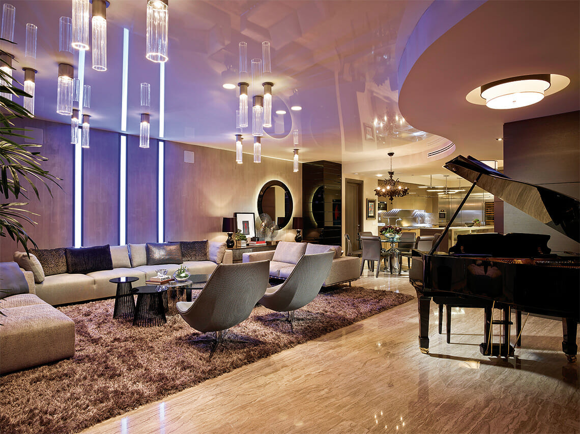 Swanky piano lounge by top miami interior designers Steven G