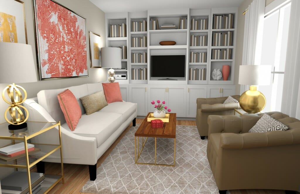 Decorilla online interior designer living room gold accents