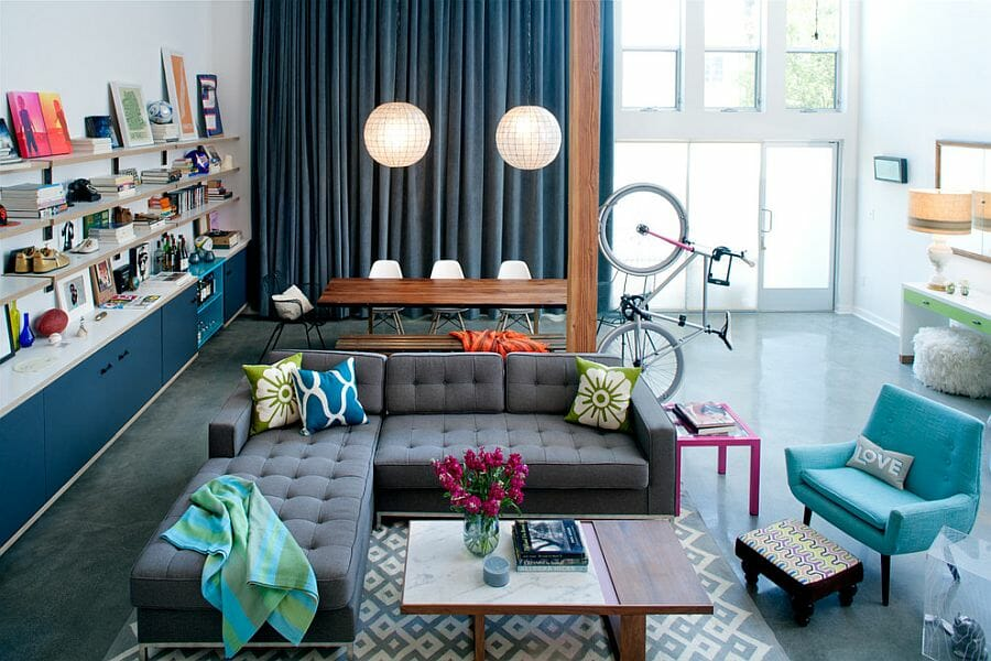 eclectic family style living room design