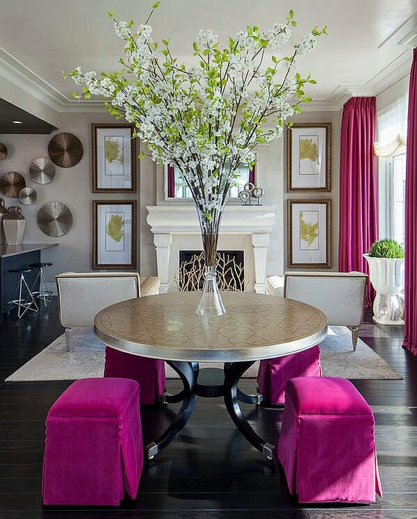 Hot Pink Accents In The Living Room Design  Part 5