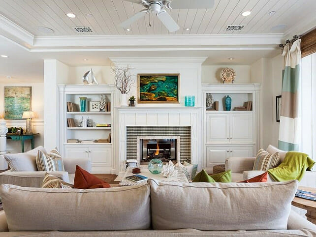 beach style living room interior design