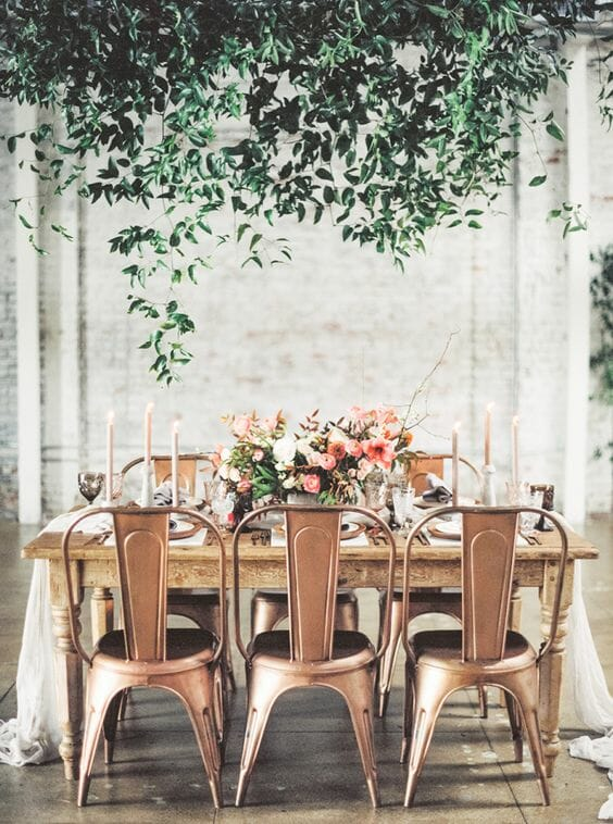 blush pink and copper patio table decor