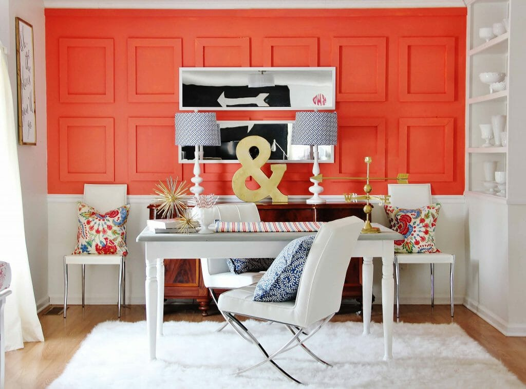 bold accent wall small office space