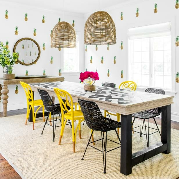 citrus pattern in dining room