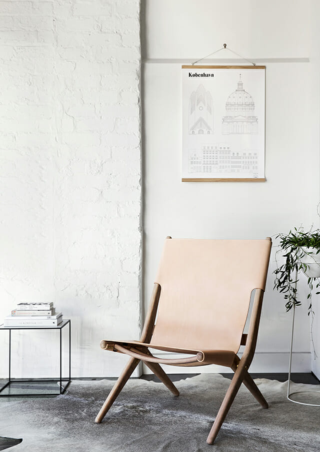 nude leather chair summer interior design