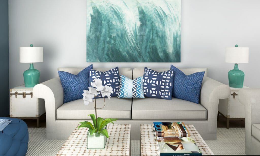 Beach decor 3 online interior designer rooms decorilla for Beach decor ideas living room