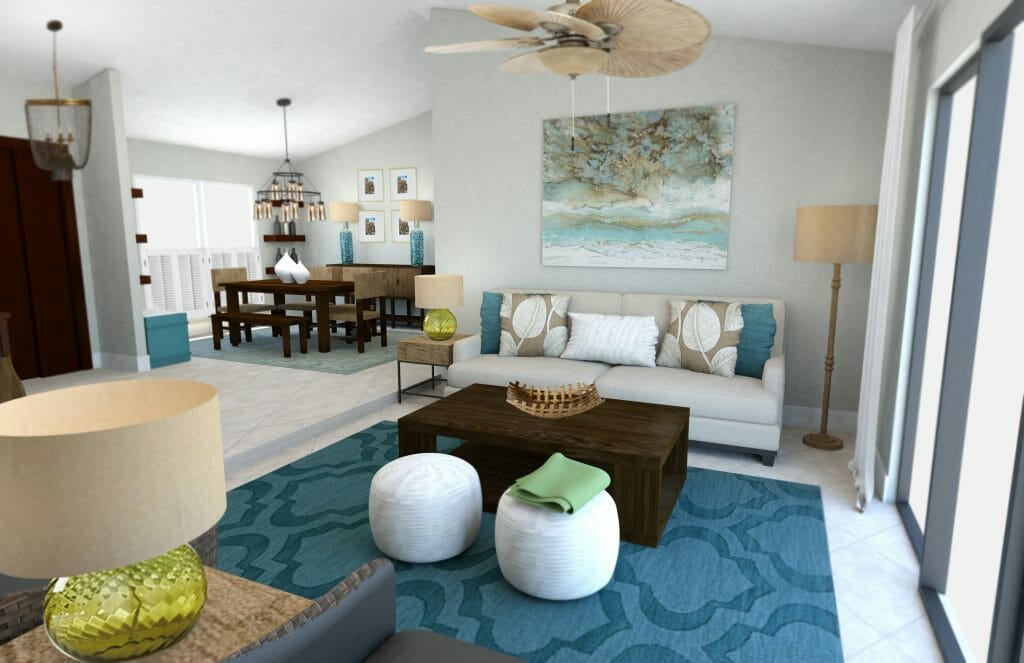 Beach decor 3 online interior designer rooms decorilla for Transitional living room decor