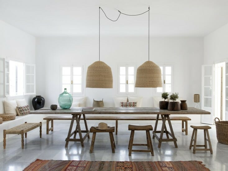 woven pendant lamps in dining room
