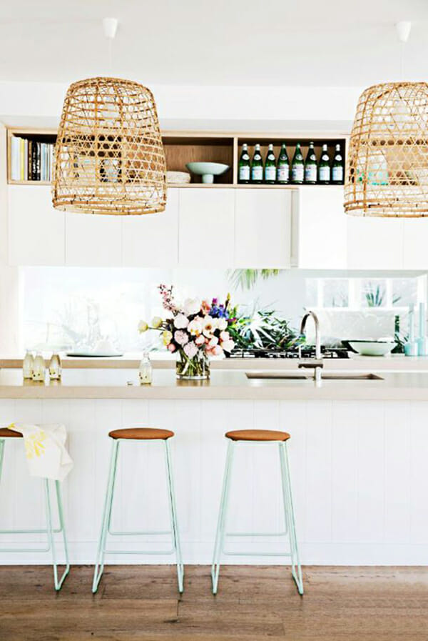 woven pendant lamps in kitchen