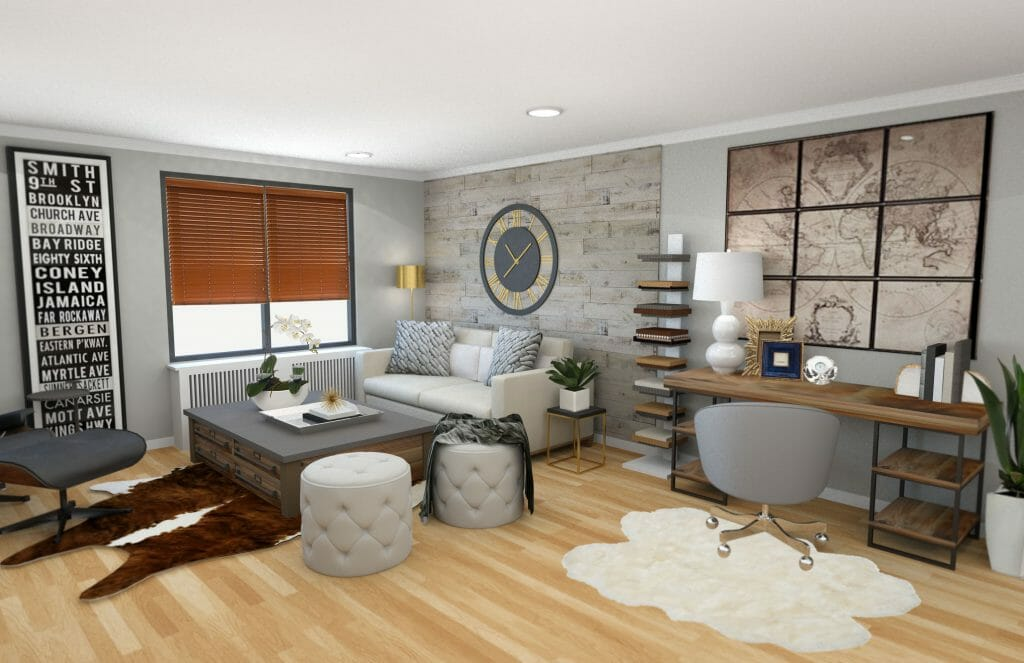 Before after modern rustic living room design online How to design a room online