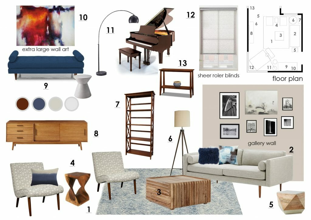 Online interior design living room moodboard
