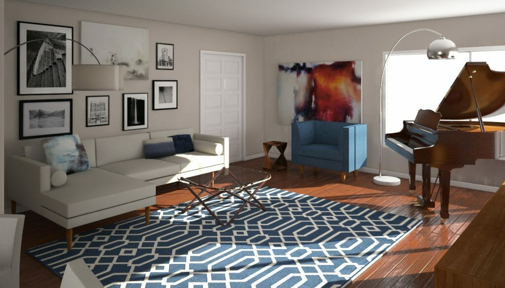 Online interior design mid century living room