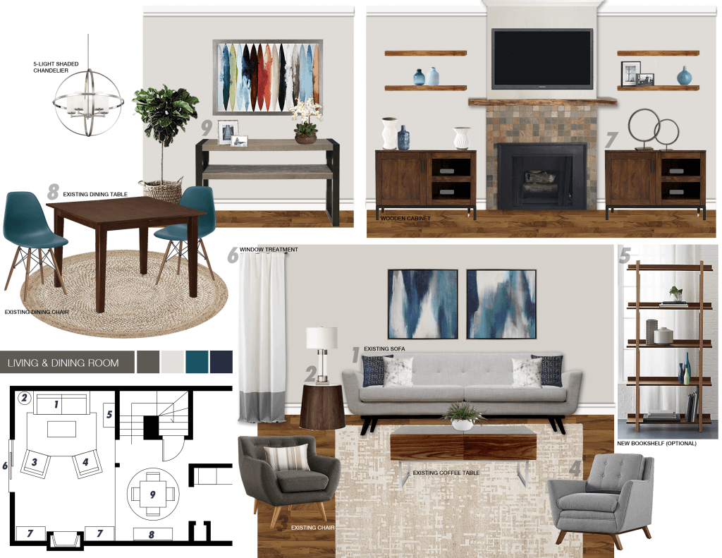 Contemporary Living Dining Room Moodboard By Picharat
