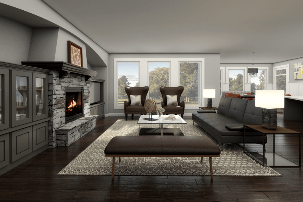 transitional living room designed by picharat