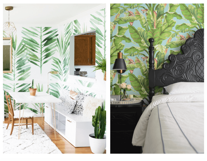 summer interior design trends botanical wallpaper