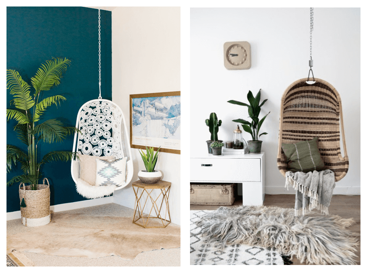 summer interior design trends hanging chairs in room
