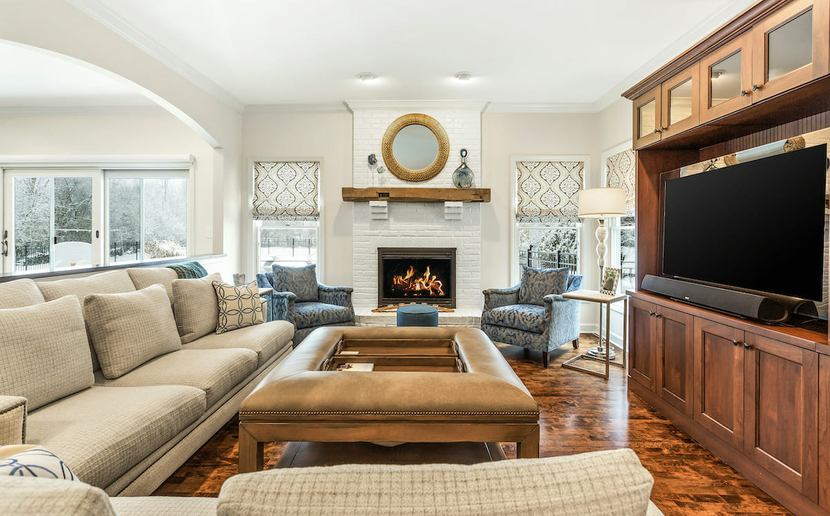 Transitional family room by Chicago interior decorator Eileen P