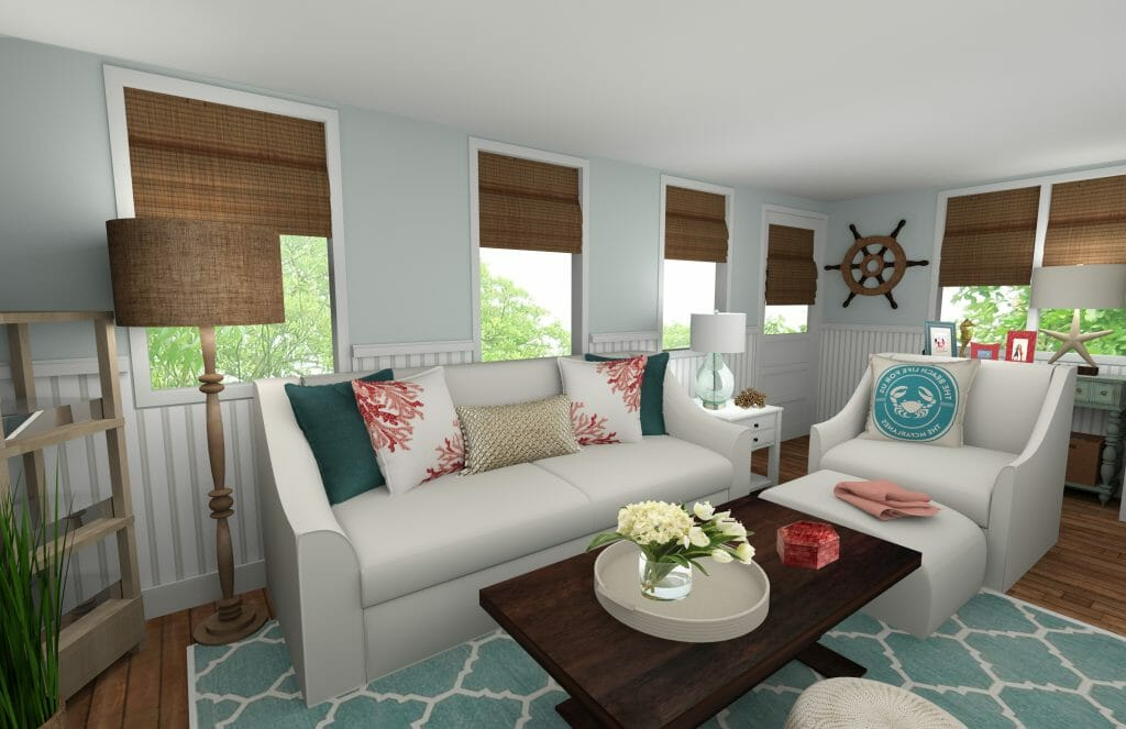 Online interior designer beach style living room decorilla for Design your living room online 3d