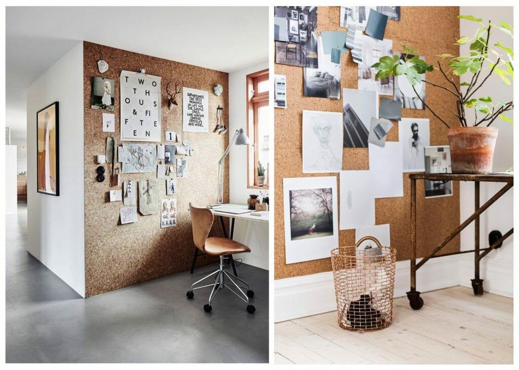 fall interior design trends cork accent wall