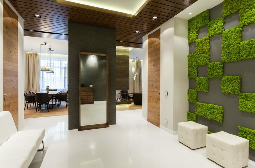 how to incorporate nature into your home- living wall in entry