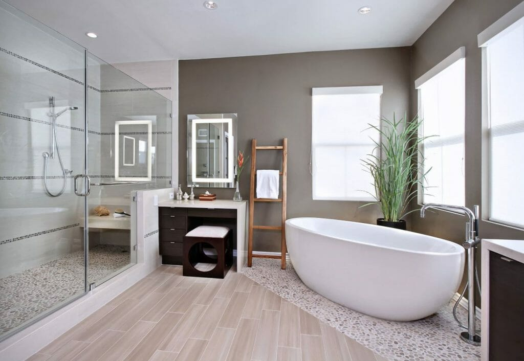 how to incorporate nature into your home- raw materials in bathroom