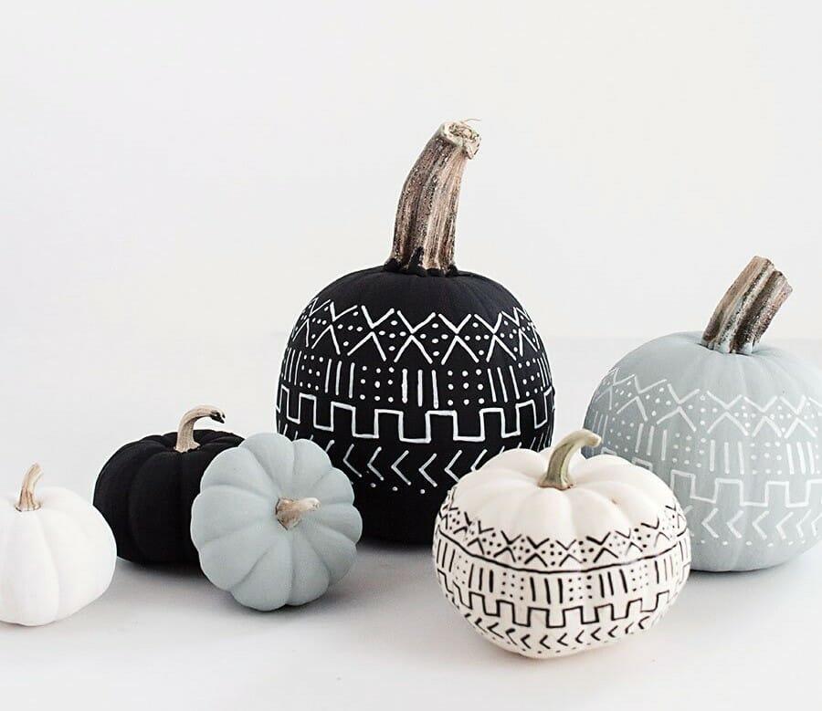 halloween decor trends painted geometric pumpkins