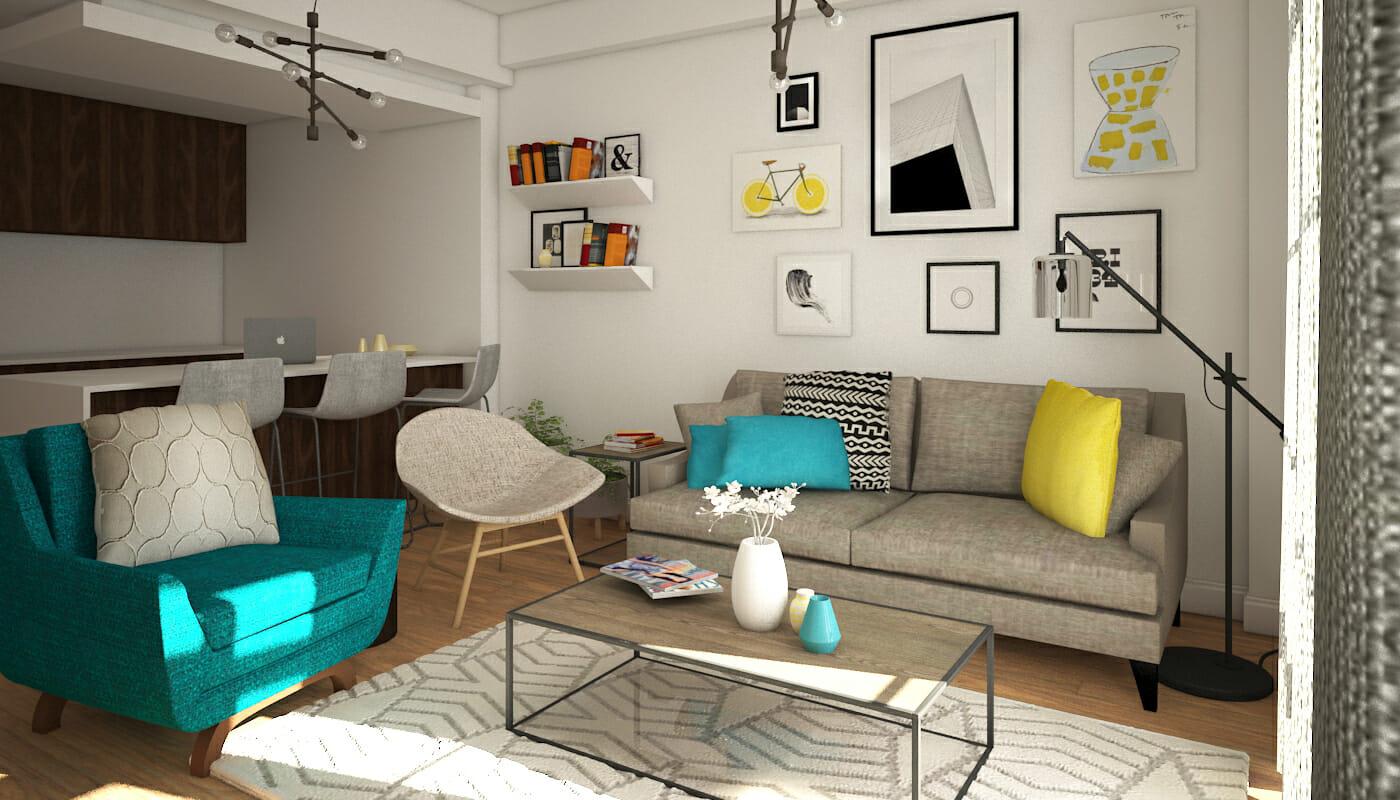 Before after playful modern online living room design for Design living room online
