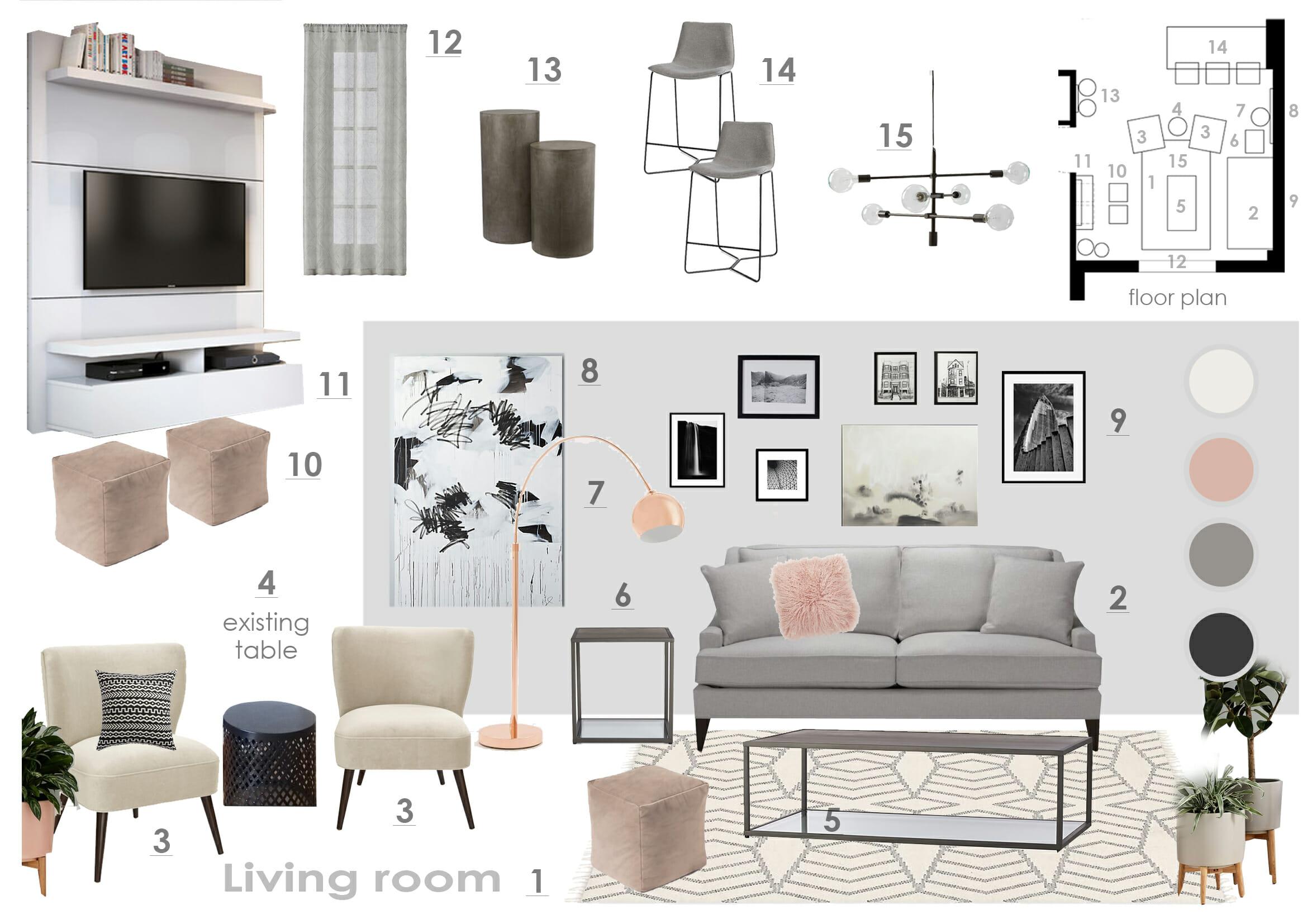 Before after playful modern online living room design for Design my living room online