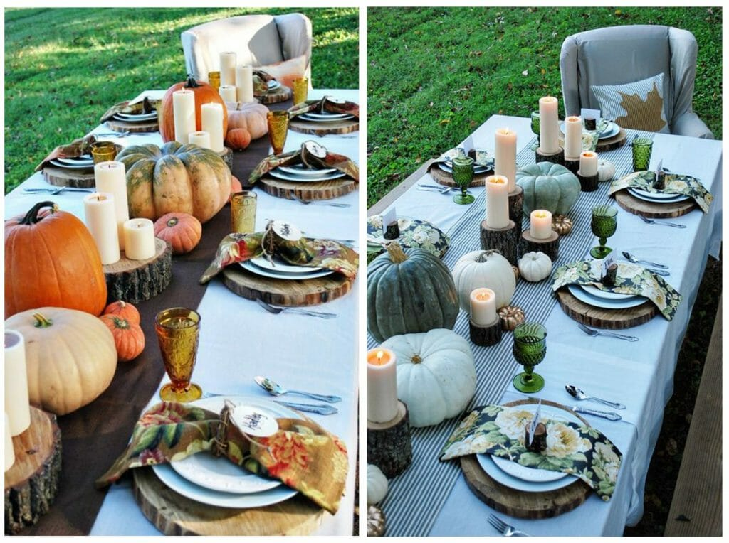 fall table decoration wood rounds