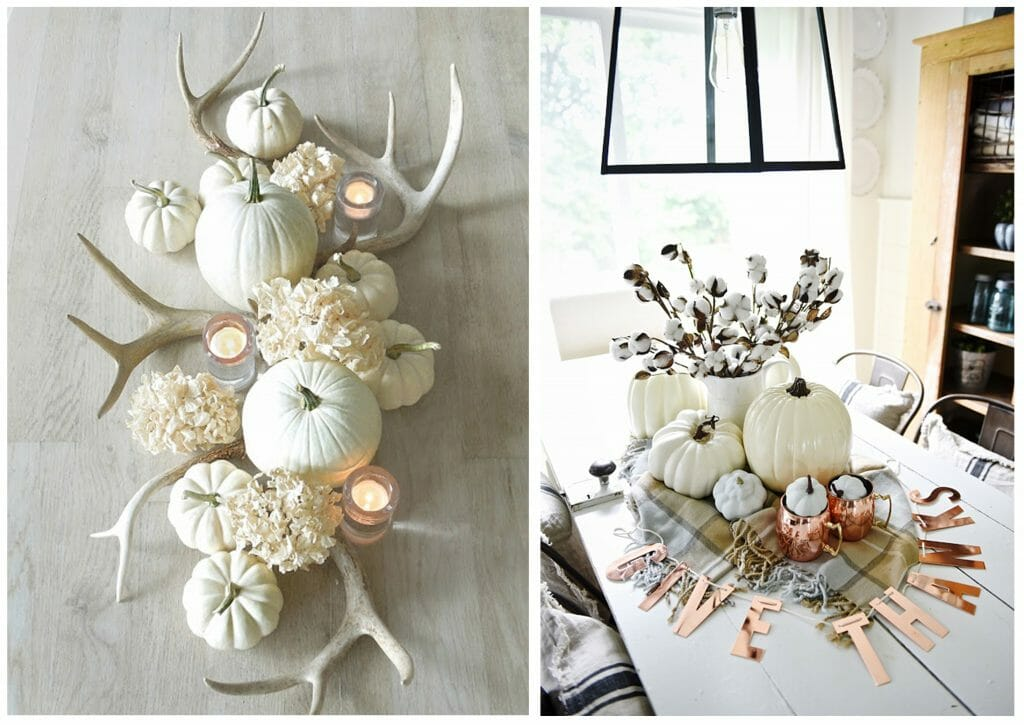 fall table decorations neutral centerpiece