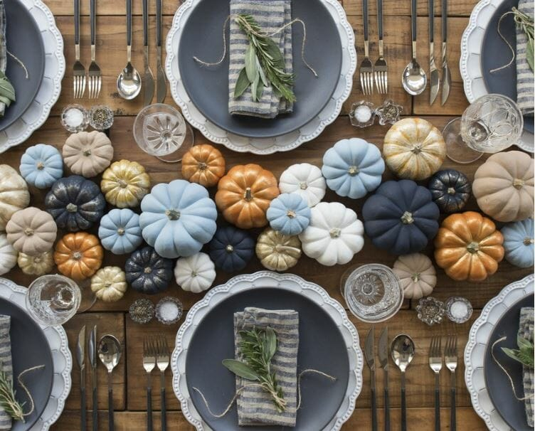 fall table decorations painted pumpkins
