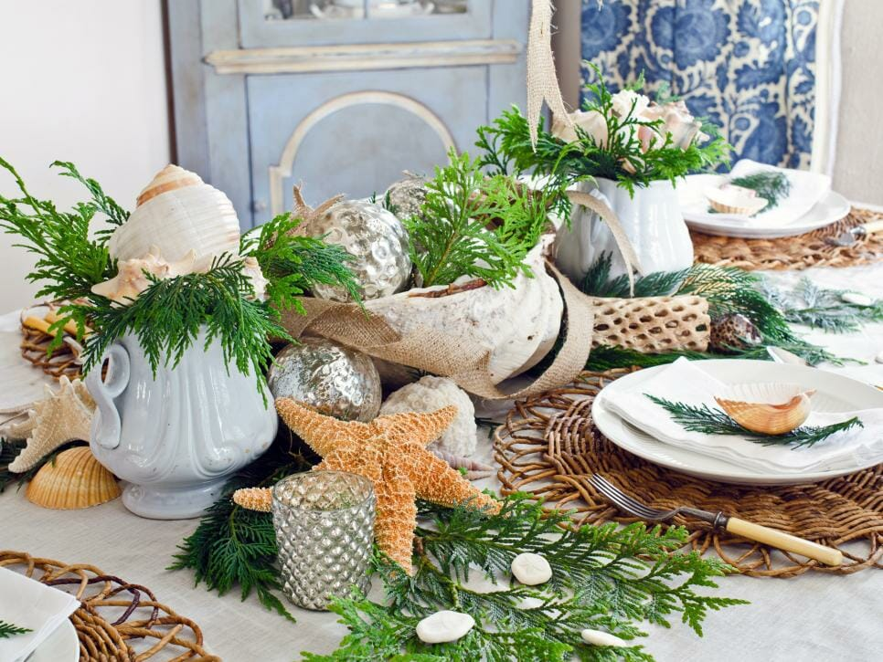 winter coastal decor christmas table setting