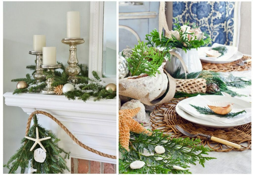winter coastal decor greenery and shells